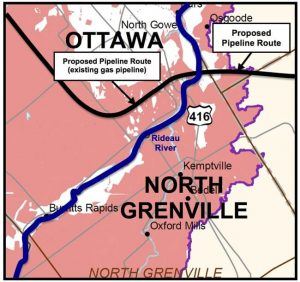 The aquifers that provide drinking water to Ottawa and North Grenville are shown in pink on this map. Click for larger view.