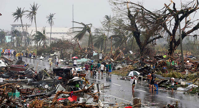 A 'state of calamity' has been declared after the worst storm ever to hit land crossed the Philippines