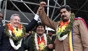 Raul Castro, Evo Morales and Nicolas Maduro at the Group of 77 Summit