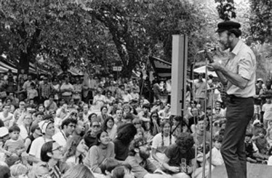 "The late Pete Seeger, a folk singer and left wing icon – seen in the photo performing at the Washington Monument on the first Earth Day in 1970 – wrote a song for Paul Ehrlich's Zero Population Growth organisation (""We'll All Be A-Doubling"", 1969). Seeger publicly appealed to Ehrlich and Barry Commoner to sink their differences in pursuit of environmentalist aims. ""Commoner has convinced me that technology and our private profit politics and society must be radically changed and quickly,"" wrote Seeger. ""But I'm still working hard for Zero Population Growth. … Achieving ZPG will be good education for everyone. Everyone can and must cooperate.""[6] Seeger's sympathy for Ehrlich's aggressively Malthusian arguments is a reminder of how deeply these ideas were embraced not only by the right, but also by sections of the left."