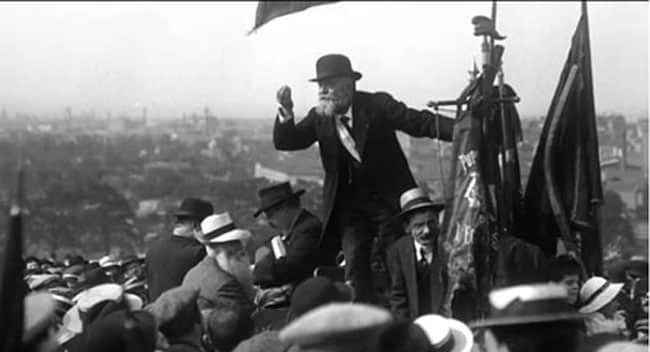 French socialist leader Jean  Jaurès at an anti-militarism rally in Paris in 1913. He was assassinated by a right-wing nationalist on the eve of World War I.