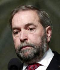 NDP leader Tom Mulcair, moved right in recent federal election, was repudiated by the party membership.
