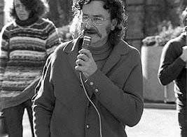 Alan Roberts speaking at a Hiroshima commemoration at Monash university in 1974